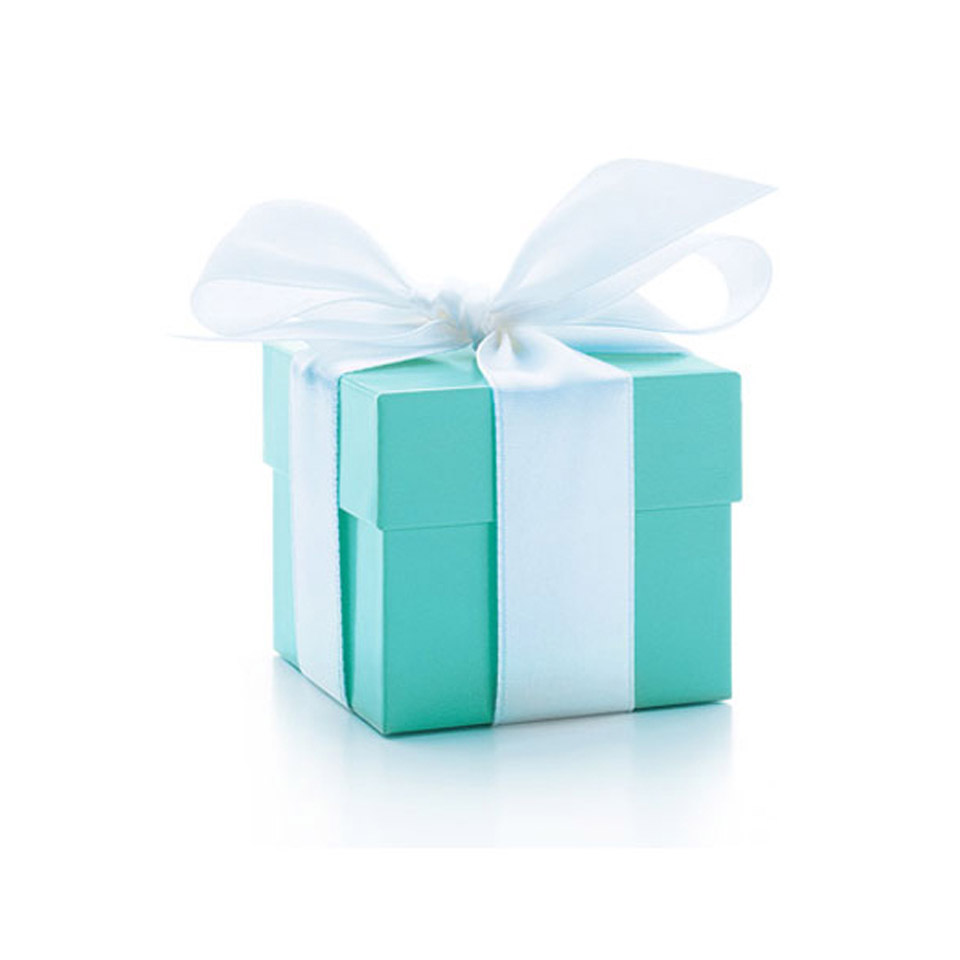 Square branded turquoise Tiffany gift box with decorative white ribbon and bow tied around it