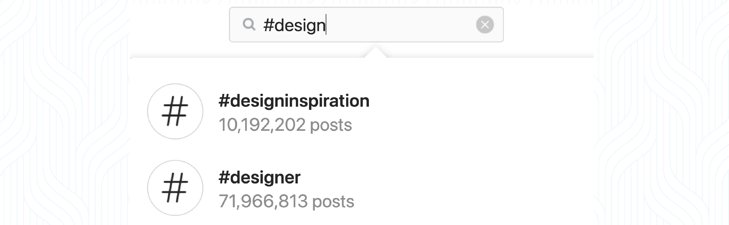 """A screenshot of an Instagram search bar with """"#design"""" typed in"""