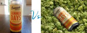 """Two images side by side, with """"VS"""" text in the center in blue script. The image on the left shows a low quality photo of a """"summer days"""" beer can on a dark wooden table, within a room. The photo on the right shows the same can laying in a bed of fresh hops, as a high quality image."""