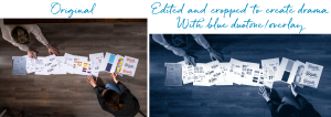 Side by side images of two people on the hard wood floor, with papers laying in a horizontal line across the images. The photo on the left (original) is in colour, and larger in height. The second photo (right) shows the cropped height of the photo, to include a better view of the people, and focus more on the center. It also includes a blue duotone effect to create a dramatic look.