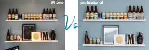 Side by side images of 2 white shelves covered in a variety of beer bottle and can designs, as well as some framed designs. The photo on the left shows a lower quality photo, with poor lighting, taken with an iPhone. The photo on the right shows a professionally taken photo, with high quality bright lighting and an appealing straight on angle